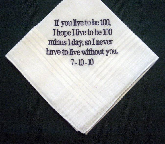 Personalized Wedding Gift - Wedding handkerchief from bride to Groom 20B