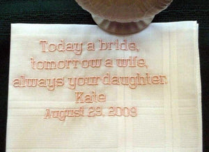 Father of the Bride with Gift Box 49B Personalized Wedding Handkerchief