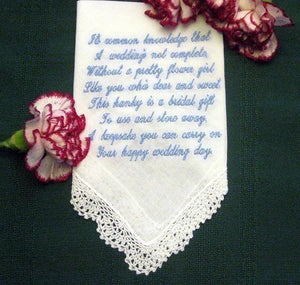 Flower Girl Gift, Personalized wedding handkerchief, with gift box 73S