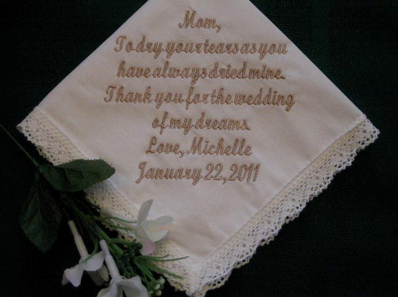 Bridal Ivory Wedding Handkerchief with gift box 9S