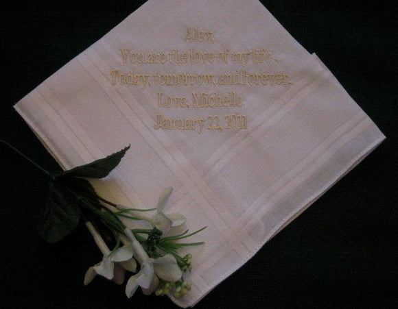 Bridal Hanky from Bride to Groom with FREE Gift Box 28B & Free shipping in the US
