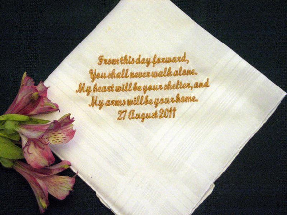 Bride to Groom Gift, Personalized Wedding Handkerchief 110S includes shipping in the US