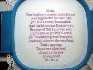 Embroidered Mother of the Groom Gift Handkerchief, Wedding 112B