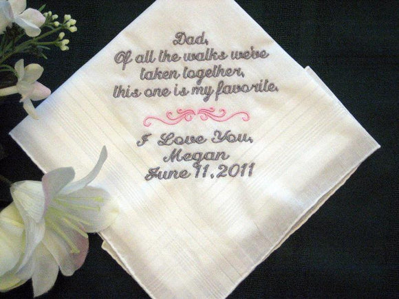 Bride to her Father 115S Personalized Wedding Handkerchief, Daddy of the Bride,