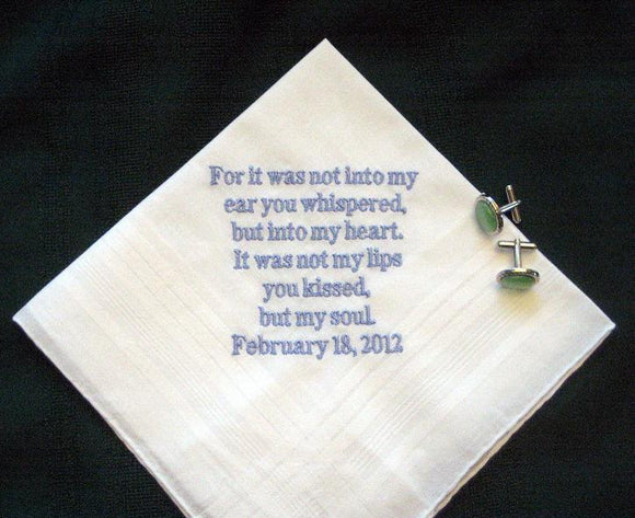 Love letter handkerchief for the groom 123B Free gift BOX and shipping in the US