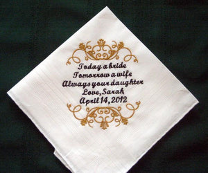 Father of the Bride wedding handkerchief, Hankie Gift for Father of the Bride 126S