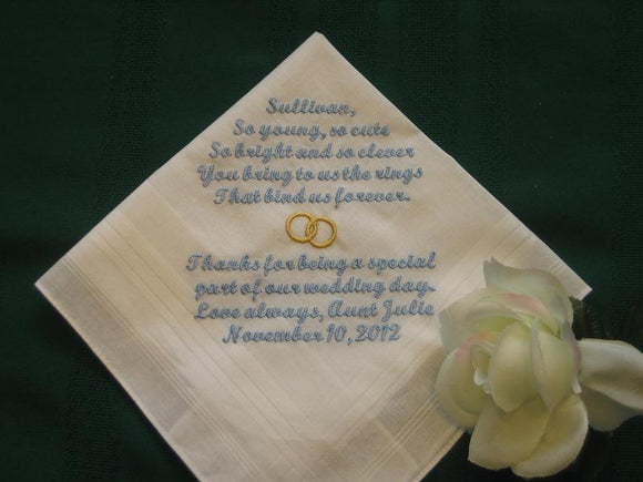 Personalized wedding handkerchief for the Ring Bearer, 135S