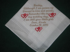 Father of the Bride Handkerchief 156S 30 words of your choice.