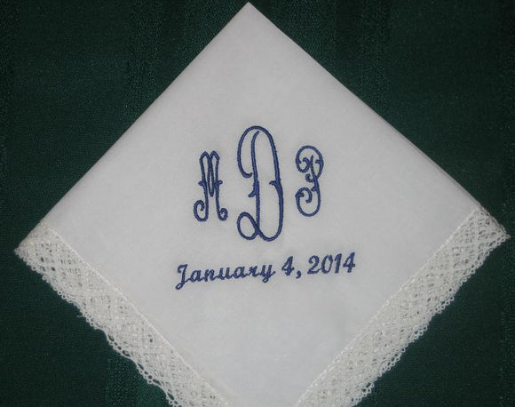 Bridal Handkerchief in Ivory, Personalized Wedding Handkerchief with FREE gift box