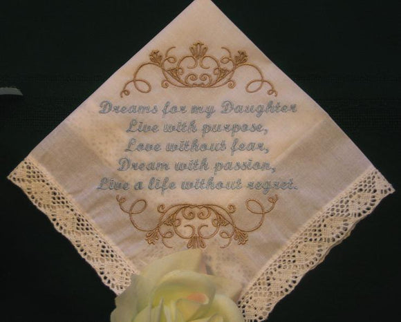 Handkerchief from mother to her daughter. wedding, birthday graduation, 161S