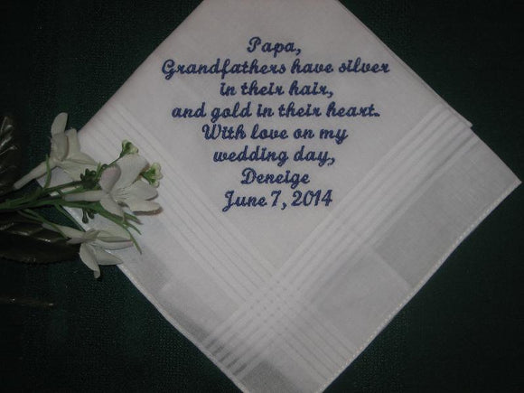 Grandfather 163S with free gift box and FREE shipping in the US. Personalized Wedding Handkerchief