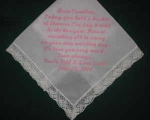 Personalized wedding handkerchief for your fower girl 167S