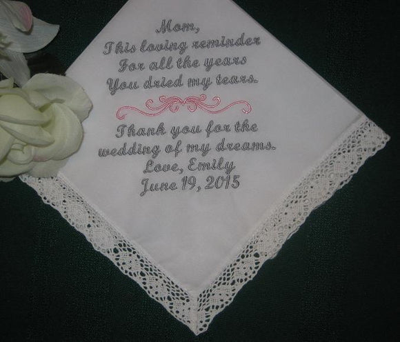 Embroidered Mother of the Bride Gift Handkerchief, 116S