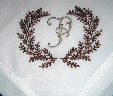 Dinner Napkins white linen hemstitched with wreath design set of 4