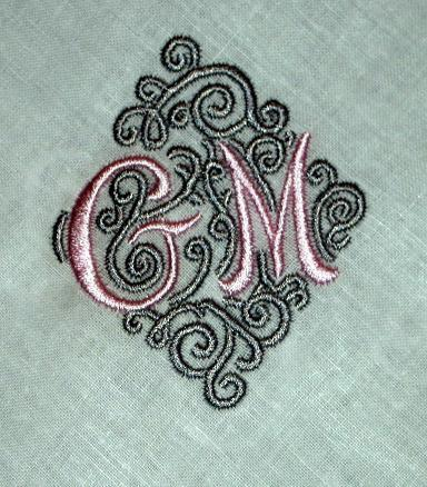Linen Hemstitched Dinner Napkins - 2 Letters and swirls design - Set of 4