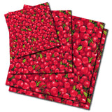 Cherry patterned beeswax wraps in small, medium and large sizes