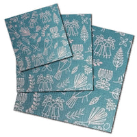 Blue early birds patterned beeswax wraps in small, medium and large sizes