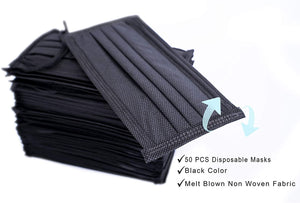 15 Boxes of Disposable Face Masks (Black)