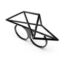 Load image into Gallery viewer, Mosalas Geometric Two-Fingers Ring