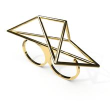 Mosalas Geometric Two-Fingers Ring