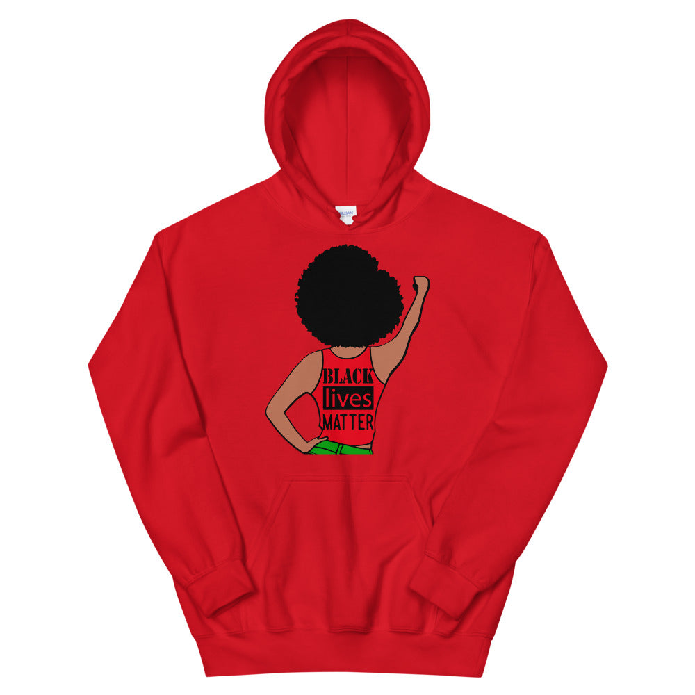 Black Lives Matter Color Afro Fist Hoodie (Unisex)