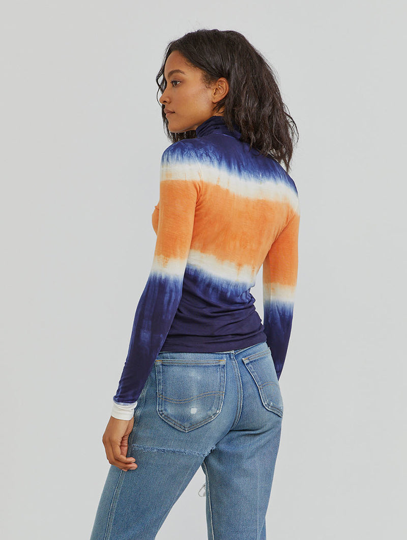 Tencel tie-dye roll neck top