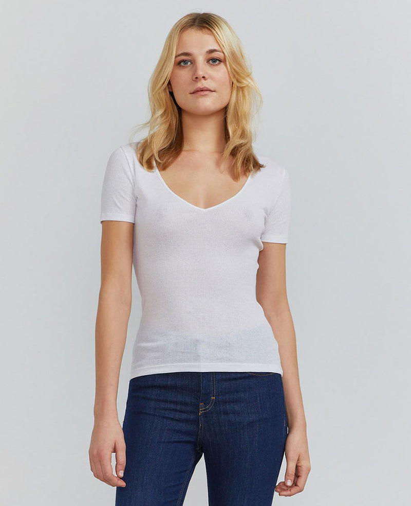 Ribbed V-neck T-shirt Ninety Percent