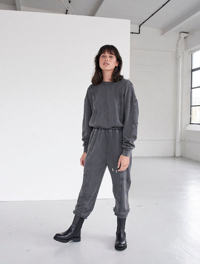Organic Cotton Stonewash Panelled Jumpsuit