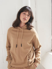 organic cotton lace up oversized hoodie