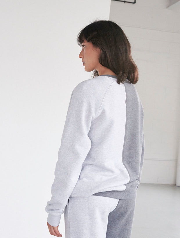 Organic Cotton Two-Tone Crew Neck Sweatshirt