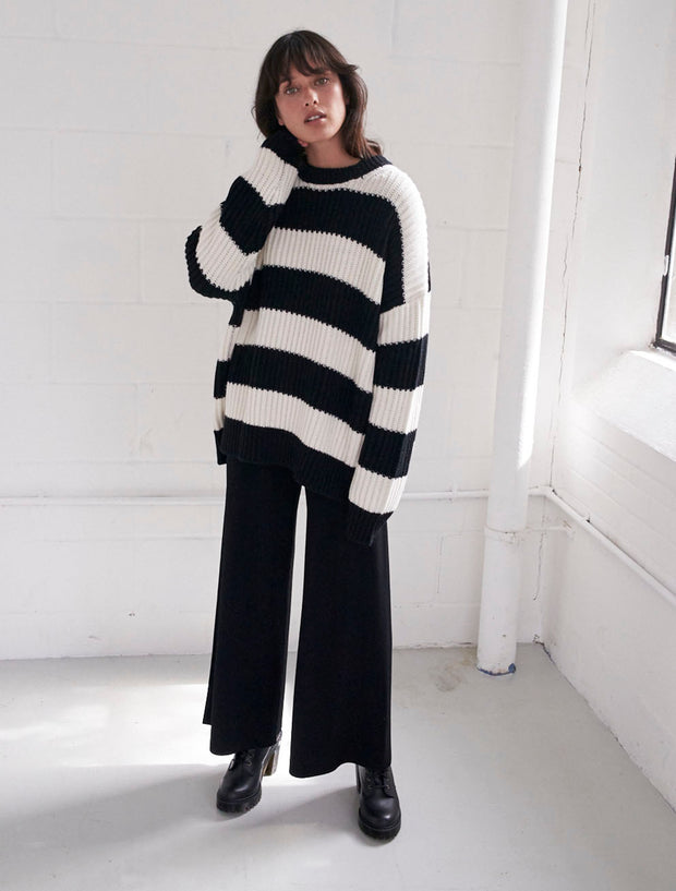 merino wool oversized crew neck sweater