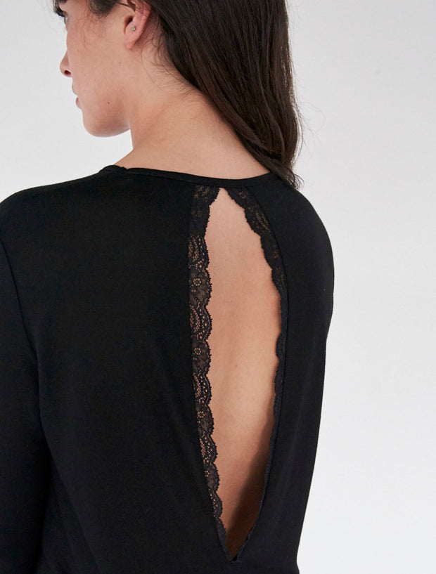 tencel lace trimmed long sleeved dress