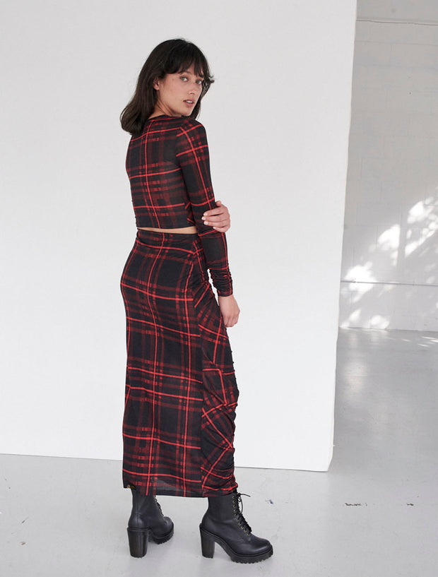 Tartan Brushed Tencel™ Ruched Detail Skirt