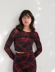 Brushed Tencel™ Ruched Tartan Top