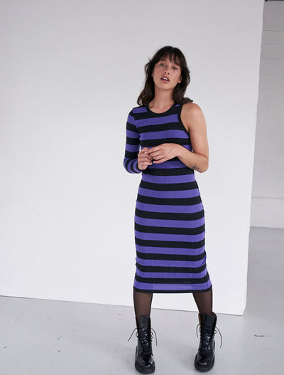 organic cotton one sleeve stripe midi dress
