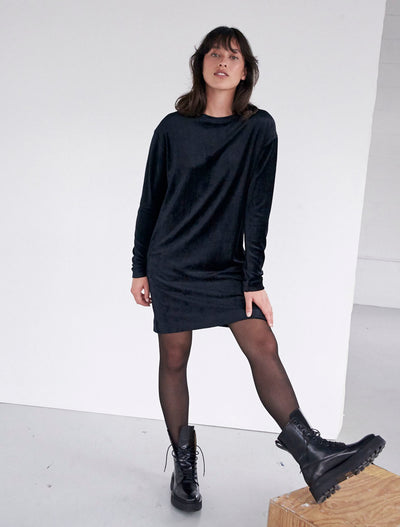 Sustainable Velour Long-Sleeved Mini Dress