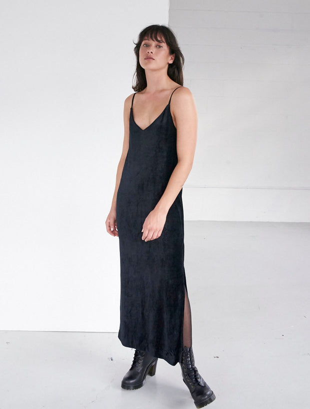 sustainable velour v neck cami dress