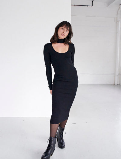 Bodycon Turtleneck Cut-Out Dress