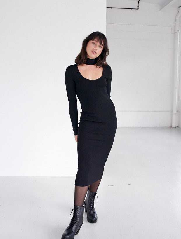 bodycon turtleneck cut out dress