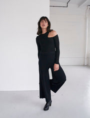 cupro cropped ribbed trousers