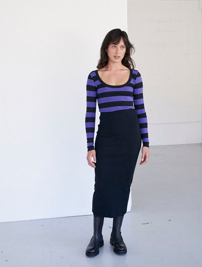 Organic Cotton Stripe Rib Long-Sleeved Top