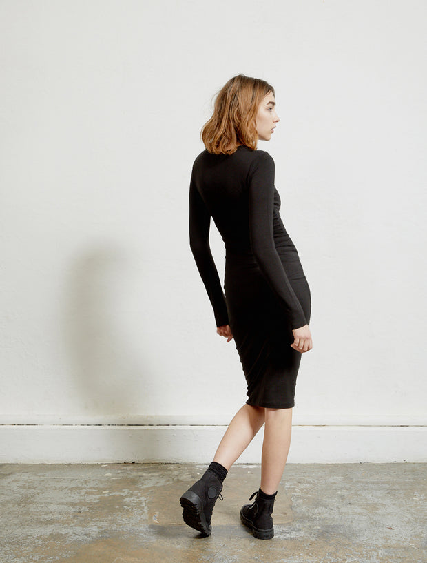 Tencel fitted long-sleeve dress