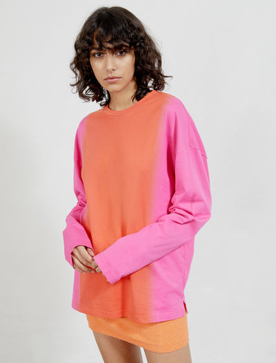 women's Organic cotton dip dye long sleeve top
