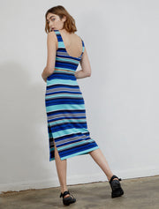 Organic cotton women's striped midi skirt