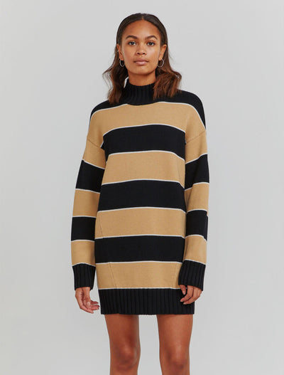MERINO STRIPED ROLL NECK