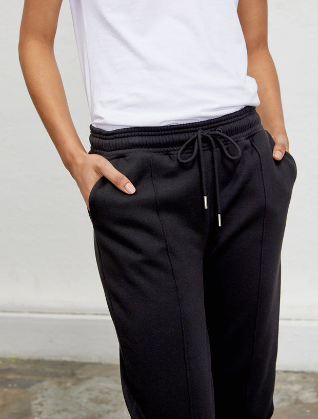 Women's Organic cotton boy fit black sweatpants