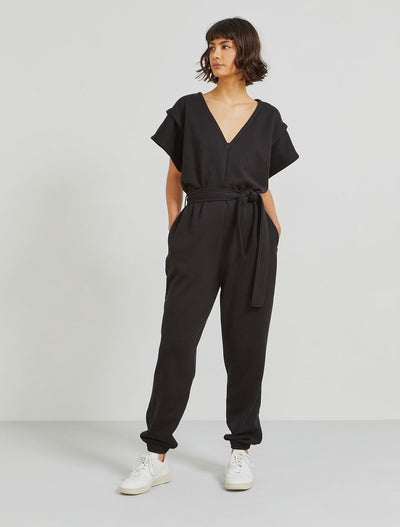 organic cotton pleat shoulder jumpsuit