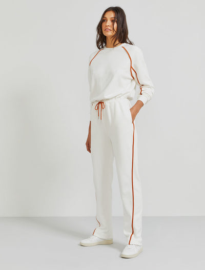 Organic cotton contrast-seam jumpsuit