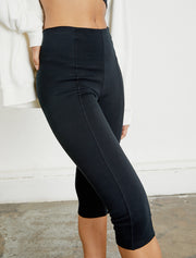 Women's organic cotton seamed black pants