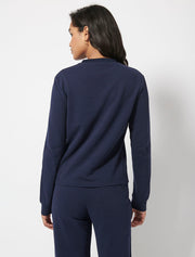 Brushed Organic Cotton Fleece Crew Neck Top and Sweatpants